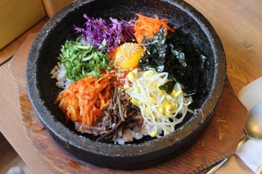 Dolsot (stone pot) Bibimbap before mixing